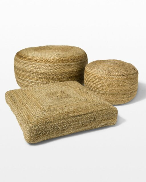 Front view of Beverly Braided Jute Pouf and Floor Pillow Set