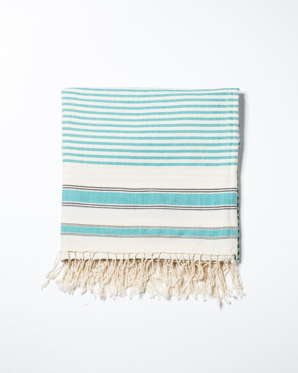 Front view of Turquoise Line Throw