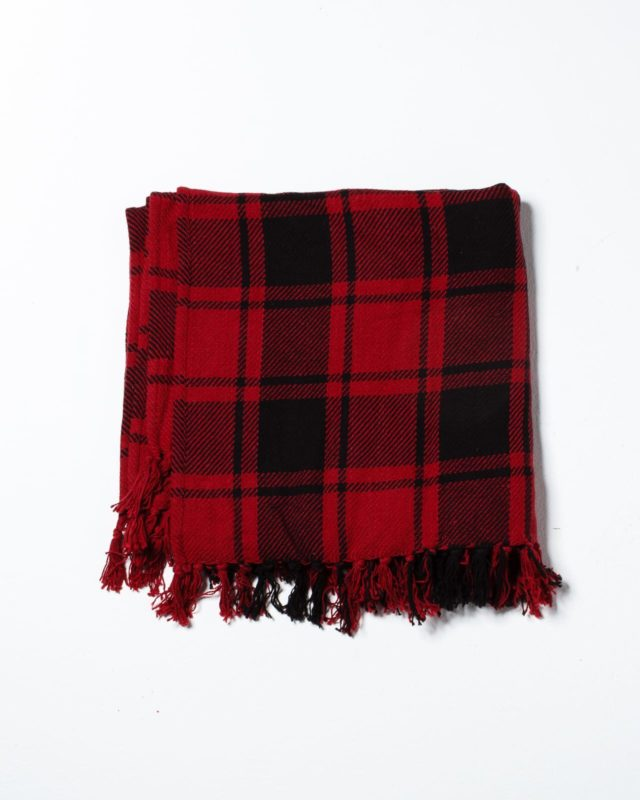 Front view of Cadbury Plaid Throw