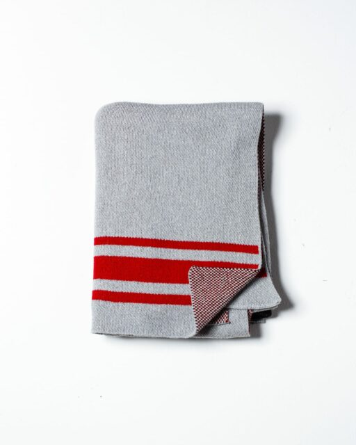 Front view of Troy Red Stripe Throw