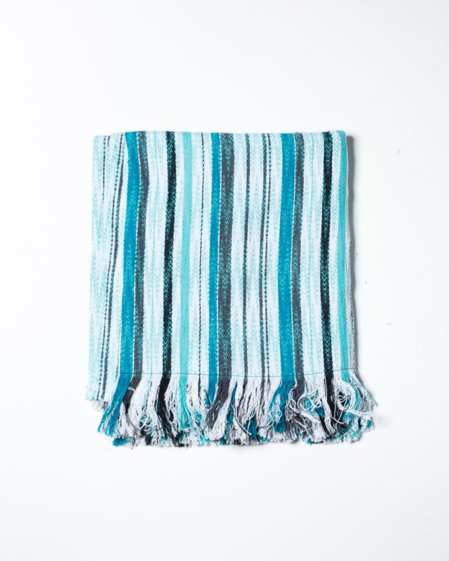 Front view of Cabana Blue Stripe Throw