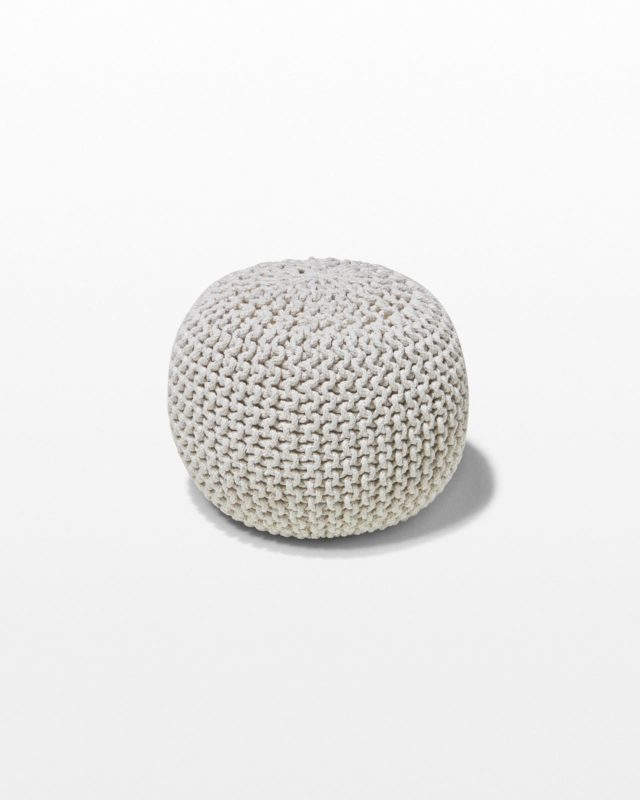 Front view of Ivory Weave Pouf