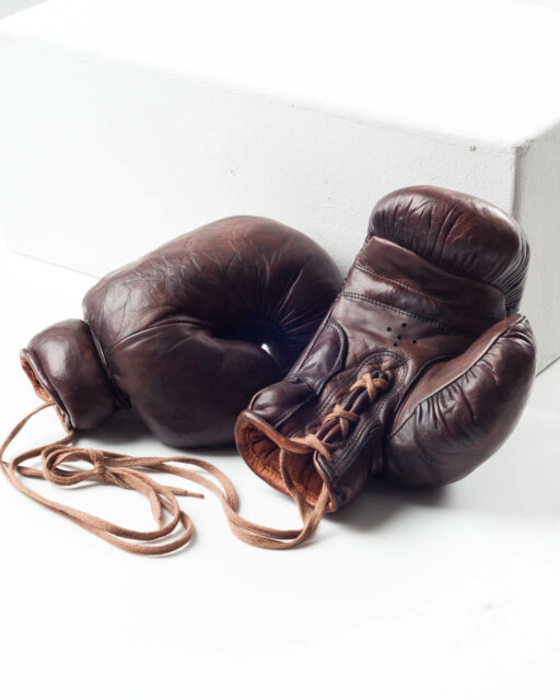 Front view of Vintage Leather Boxing Gloves