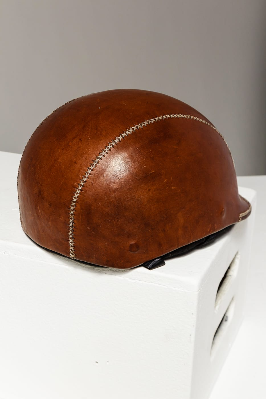 Sp145 Jayson Brown Leather Helmet Prop Rental Acme Brooklyn