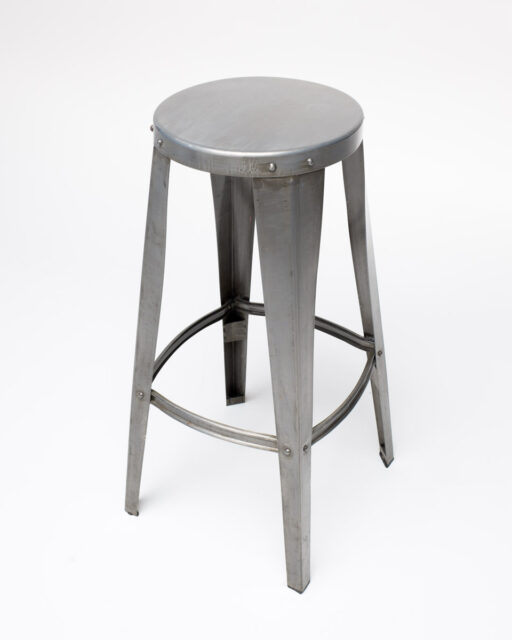 Front view of Brushed Metal Stool