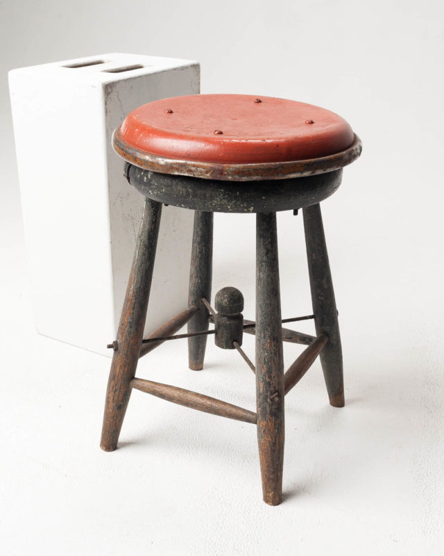 Front view of Short Distressed Wood Stool