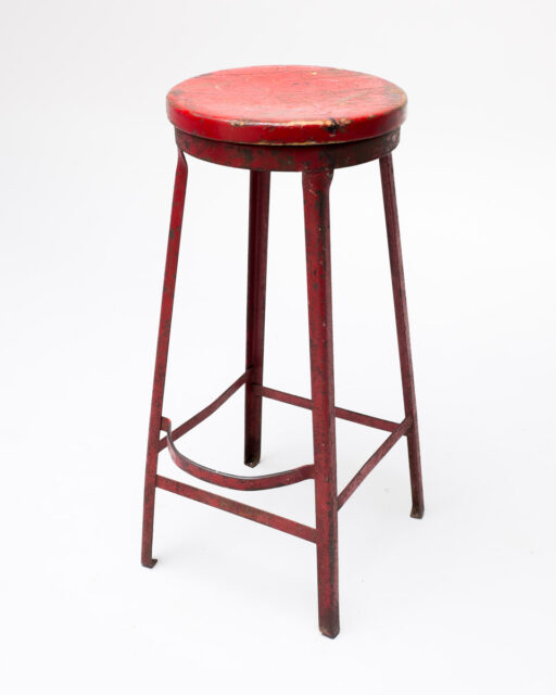 Front view of Oakley Distressed Red Metal Stool