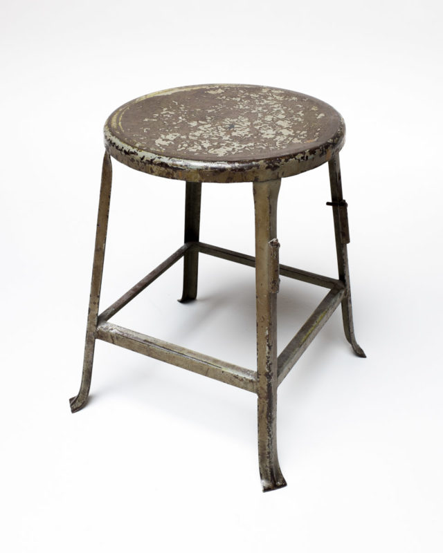 Front view of Shipley Distressed Metal Stool