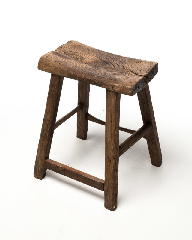 Front view of Fork Rustic Wood Stool