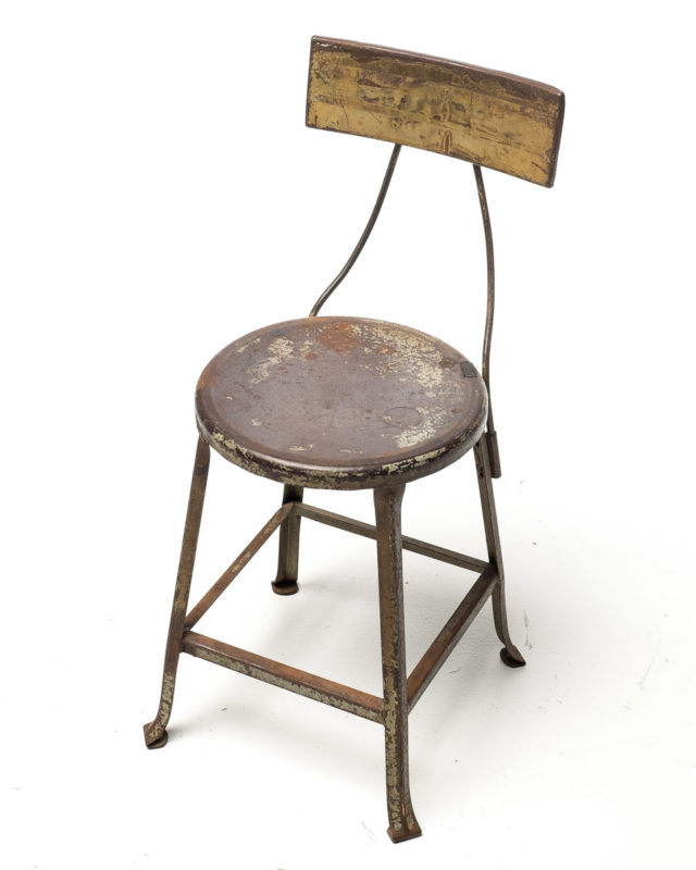 Front view of Metal Back Short Stool