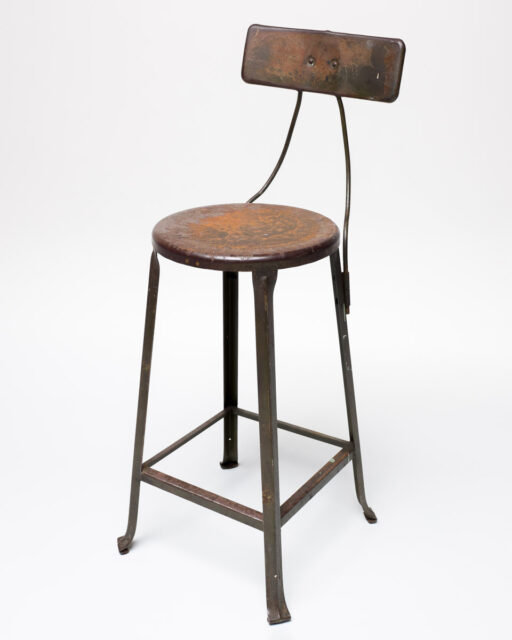 Front view of Metal Back Tall Stool