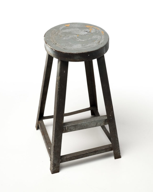 Front view of Willard Distressed Metal Stool