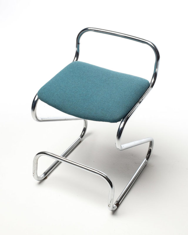 Front view of Blue Chrome Stool