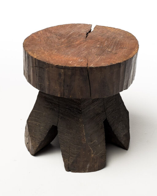 Front view of Carved Tree Trunk Short Stool