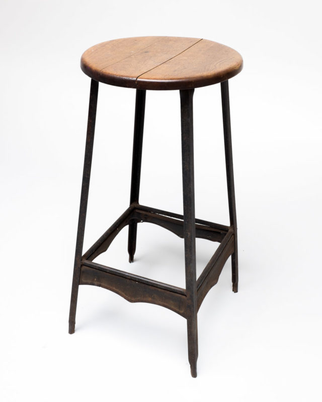 Front view of Metal and Wood Scallop Stool