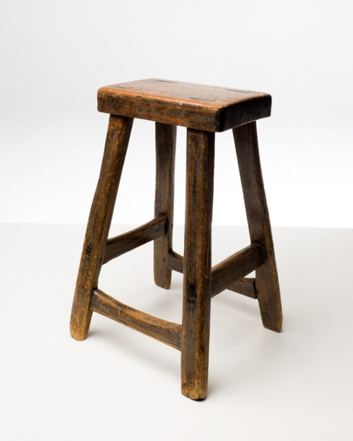 Front view of Eugene Rustic Wooden Stool