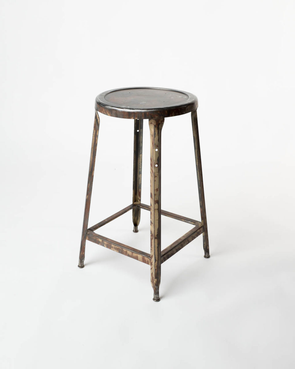 Front view of Toro Distressed Metal Stool