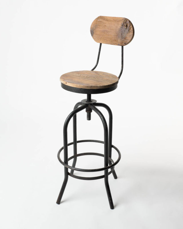 Front view of Reclaimed Wood and Metal Stool
