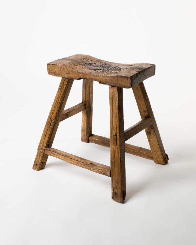 Front view of Plains Rustic Wooden Stool
