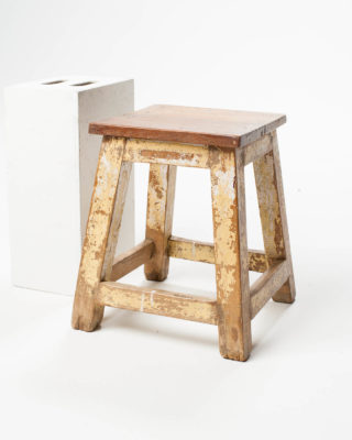 Front view of Distressed Riser Stool