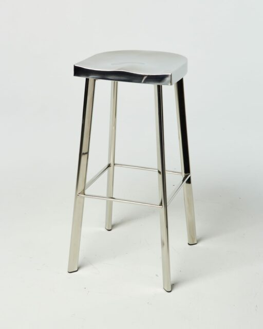 Front view of Laurel Chrome Stool