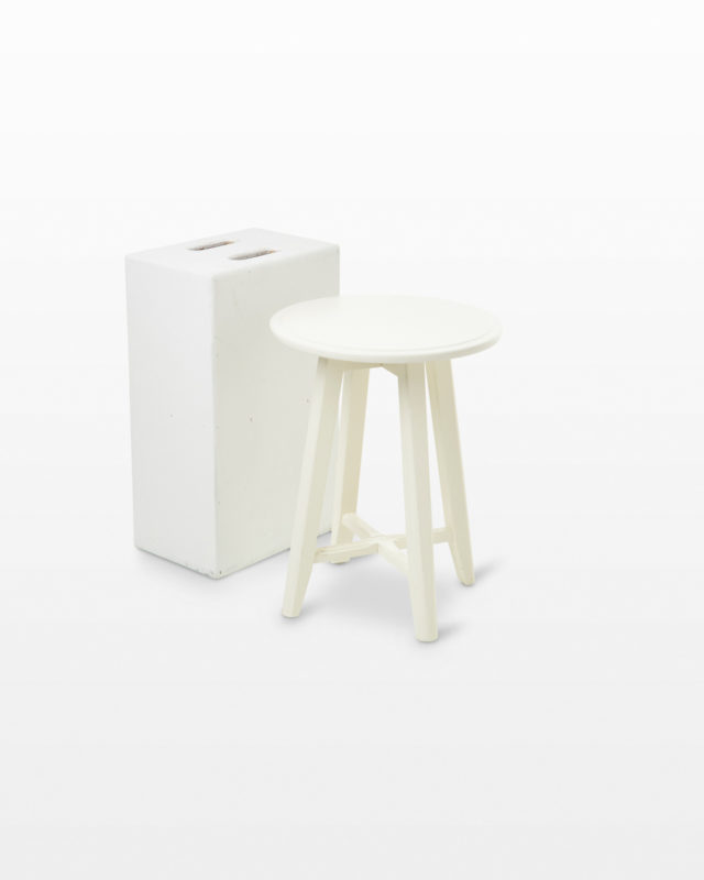 Front view of Squire Short White Stool