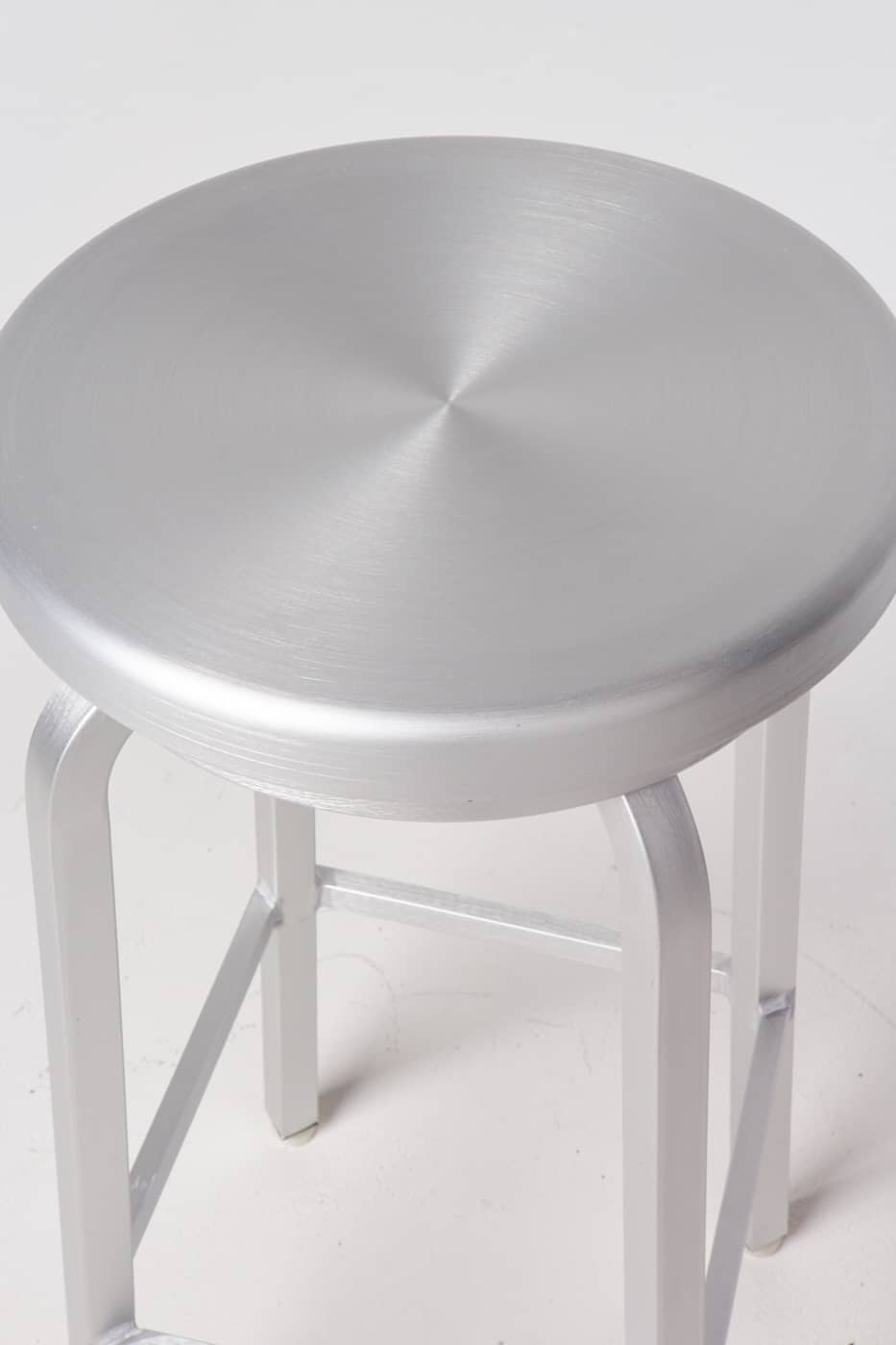 St123 Earl Brushed Aluminum Stool Prop Rental Acme Brooklyn