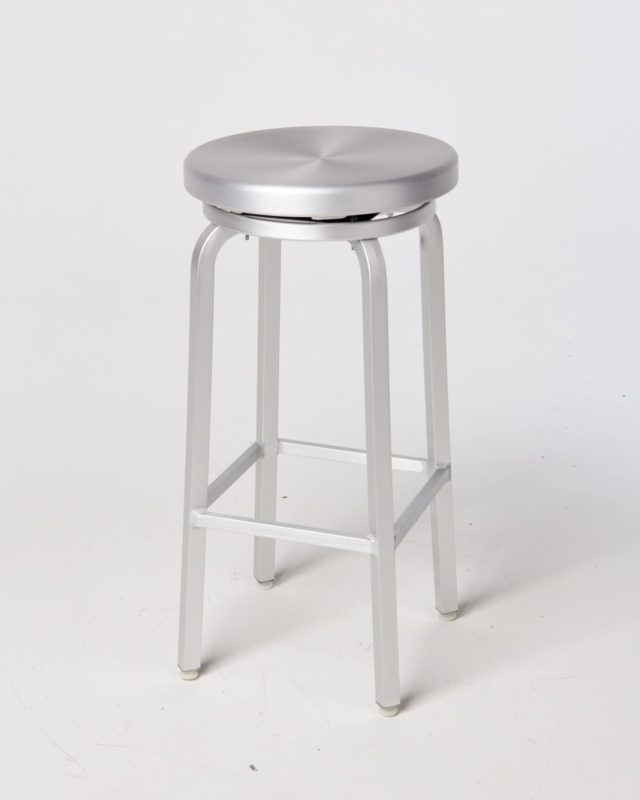 Front view of Earl Brushed Aluminum Stool