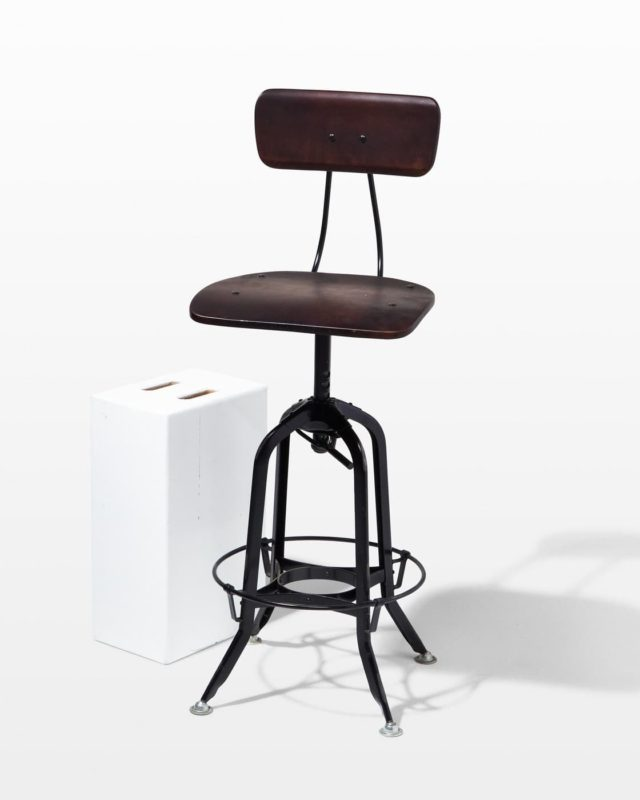 Front view of Clinton Adjustable Wooden Seat Stool