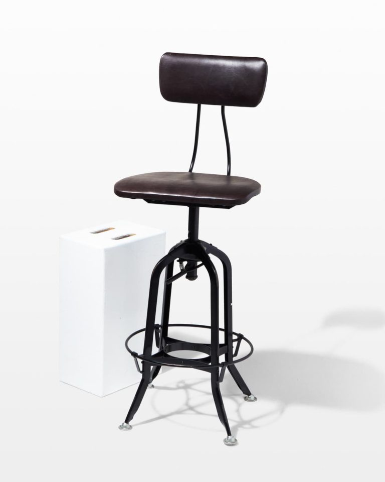 Front view of Clayton Adjustable Leather Seat Stool