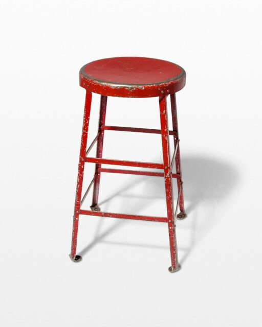 Front view of Lewis Distressed Red Stool