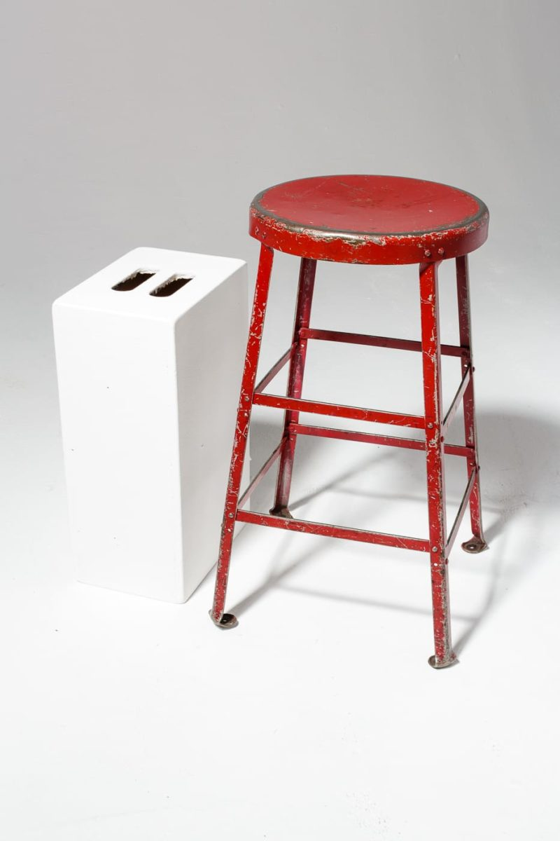 Alternate view 1 of Lewis Distressed Red Stool
