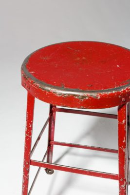 Alternate view 3 of Lewis Distressed Red Stool
