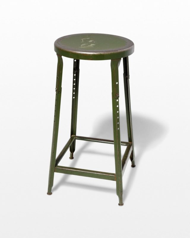Front view of Hoskin Distressed Green Stool
