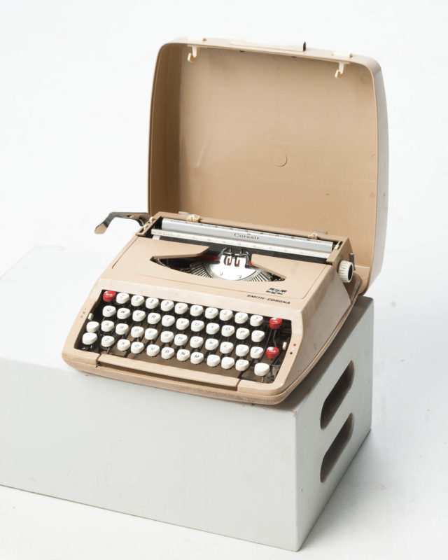 Front view of Smith Corona Beige Typewriter