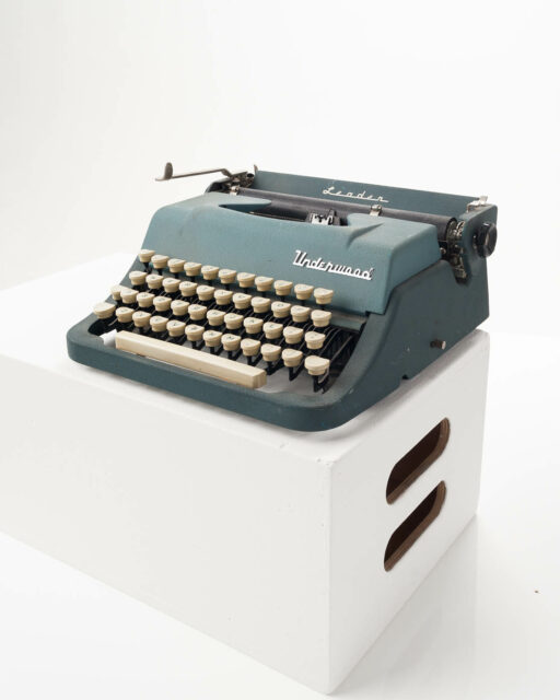 Front view of Underwood Teal Typewriter