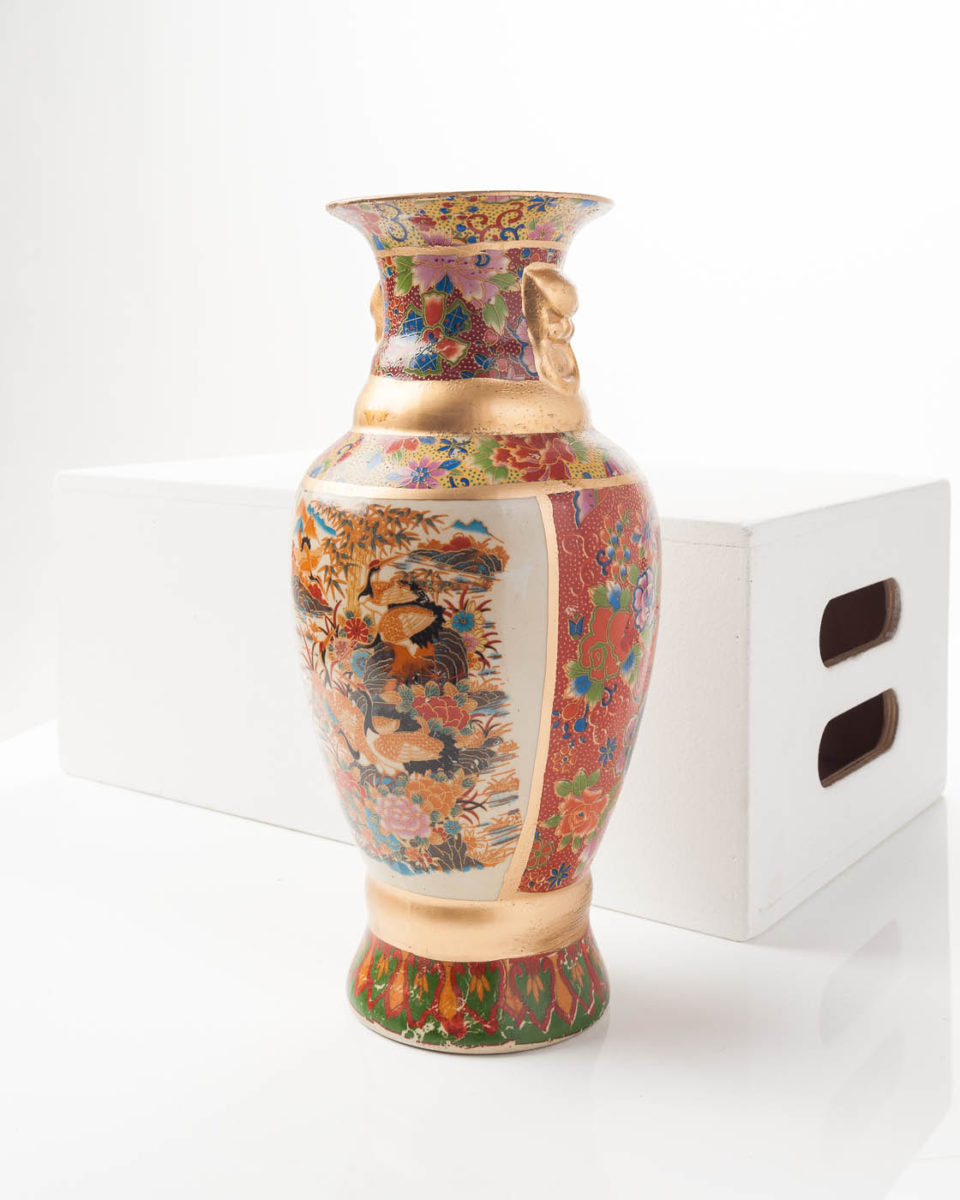 Front view of Floral Heron Vase