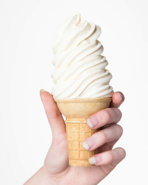 Front view of Pleasant Vanilla Soft Serve Cone