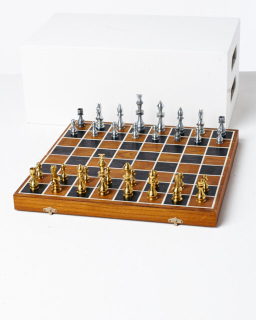 Front view of Bishop Wood Chess Set