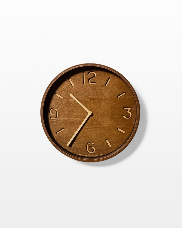 Front view of Liam Wood Wall Clock