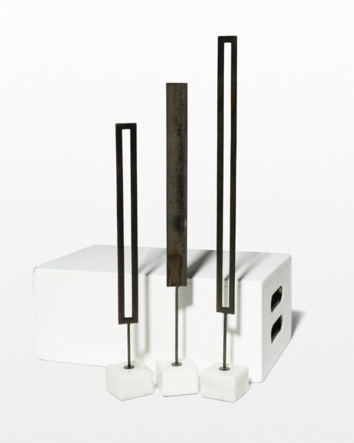 Front view of Wexler Iron and Marble Sculpture Trio