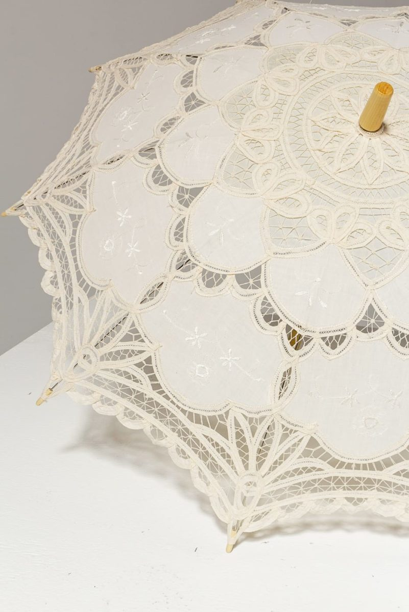 Alternate view 1 of Ivory Lace Crochet Parasol
