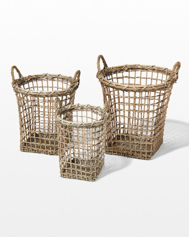 Front view of Sylvester Open Weave Basket Trio