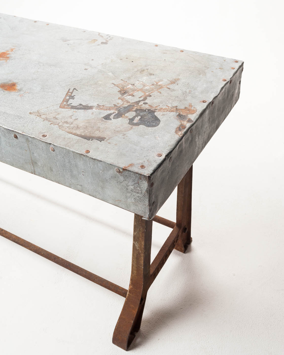 TB Reclaimed Wood Farm Table With Aged Aluminum Top Option Prop - Marble top farm table