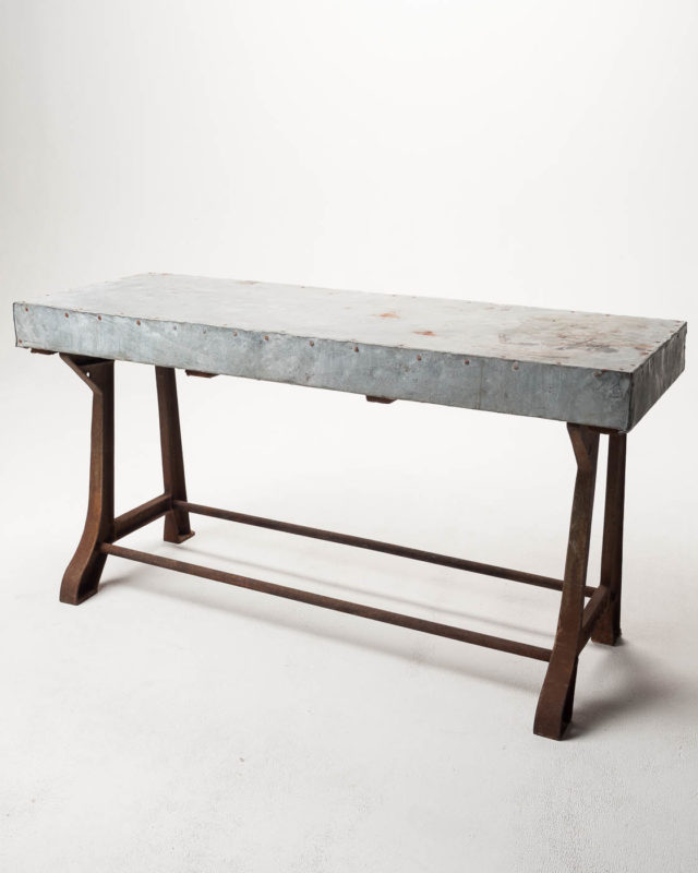Front view of Reclaimed Wood Farm Table with Aged Aluminum Top Option