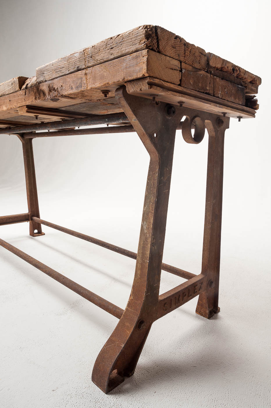 TB006 Reclaimed Wood Farm Table With Wood Top Option