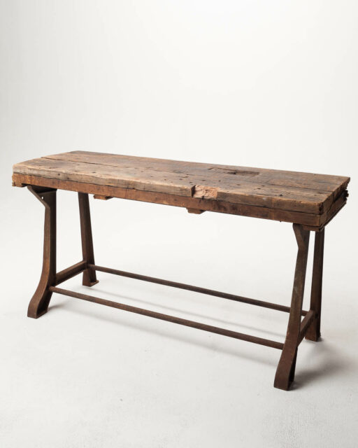 Front view of Reclaimed Wood Farm Table with Wood Top Option