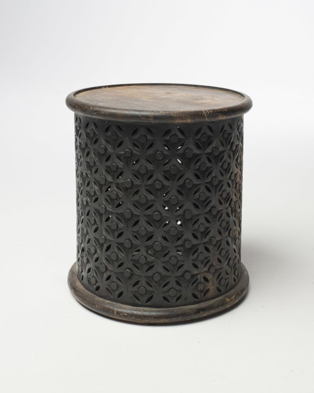 Front view of Carved Wood Side Table