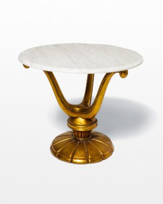 Front view of Gold Base Marble Table