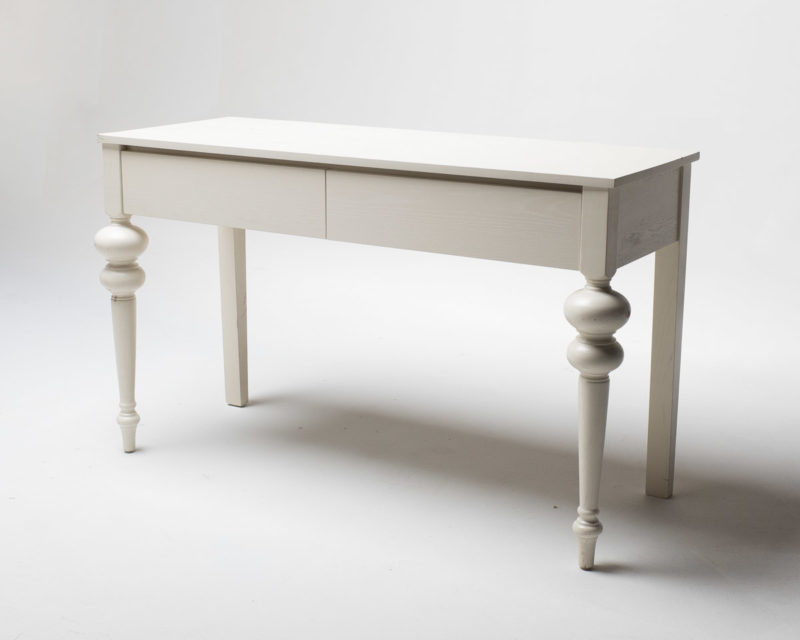 Front view of White Two Drawer Desk